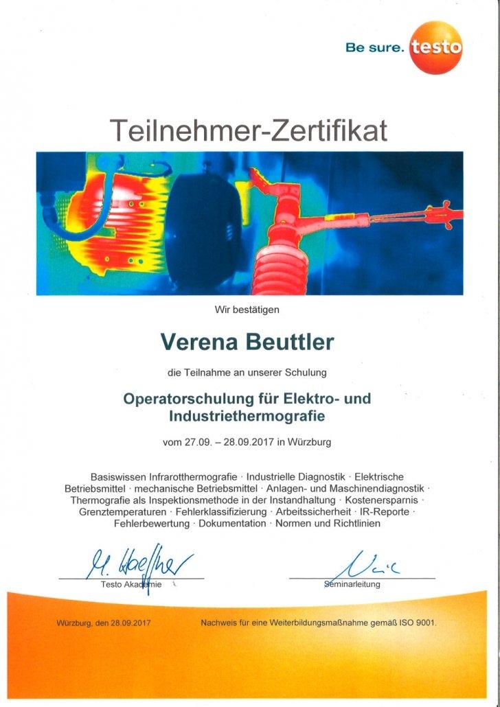 testo Zertifikat Operatorenschulung für Elekro- und Industriethermografie