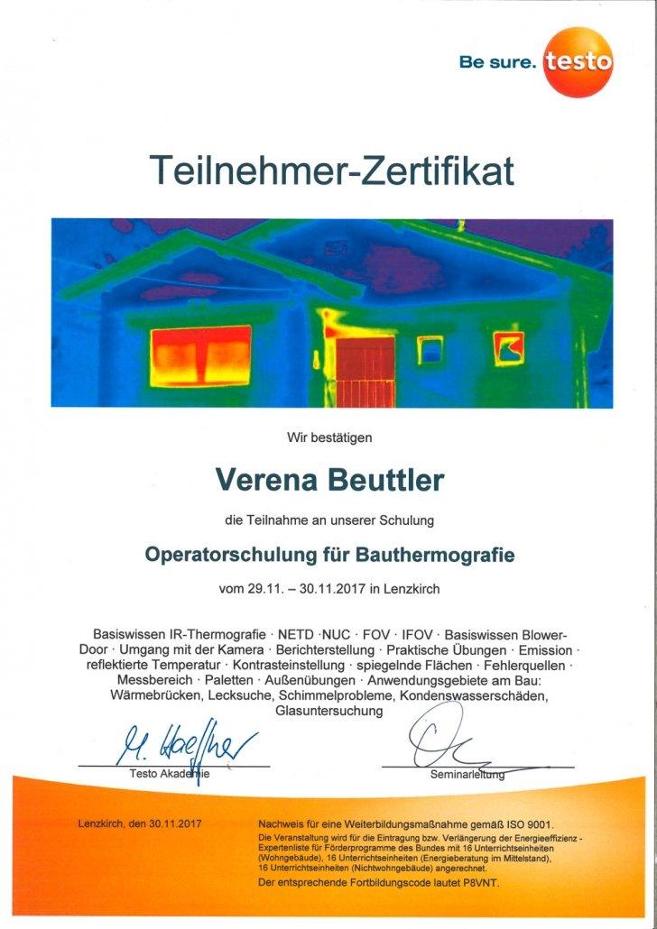 testo Zertifikat Operatorenschulung für Bauthermografie
