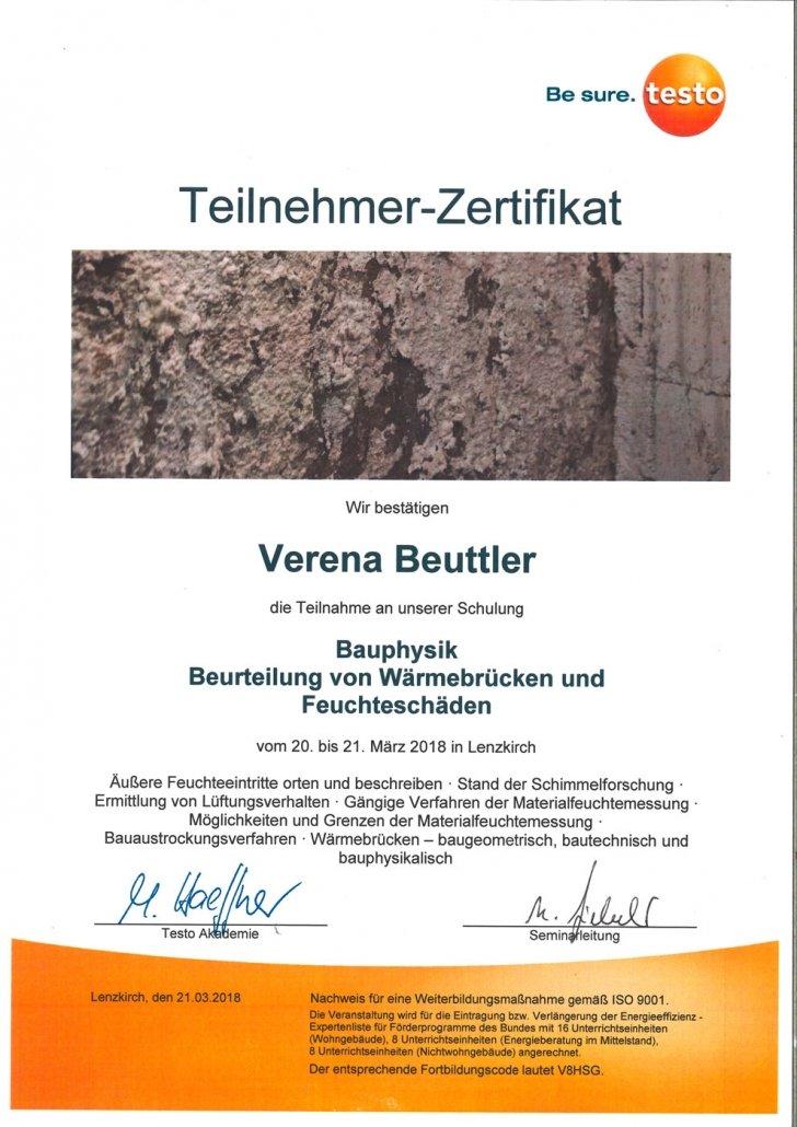 testo Zertifikat Bauphysik