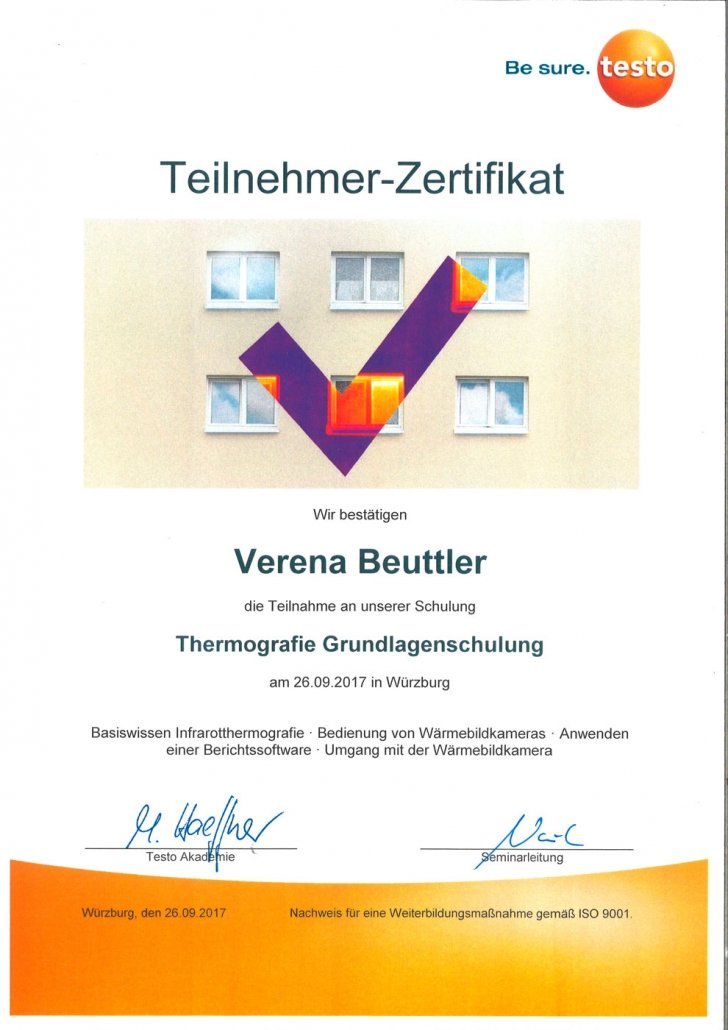 testo Zertifikat Thermografie Grundlagenschulung