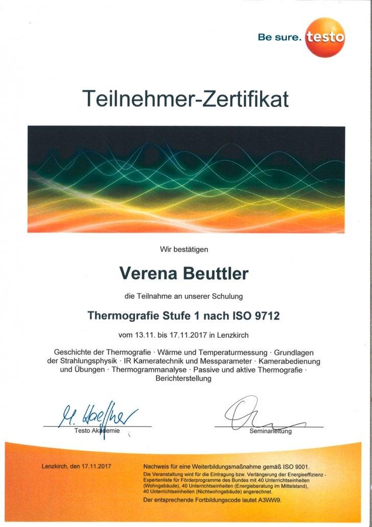 testo Zertifikat Thermografie Stufe 1