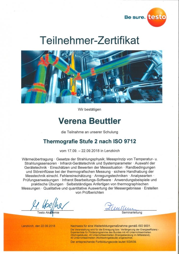testo Zertifikat Thermografie Stufe 2