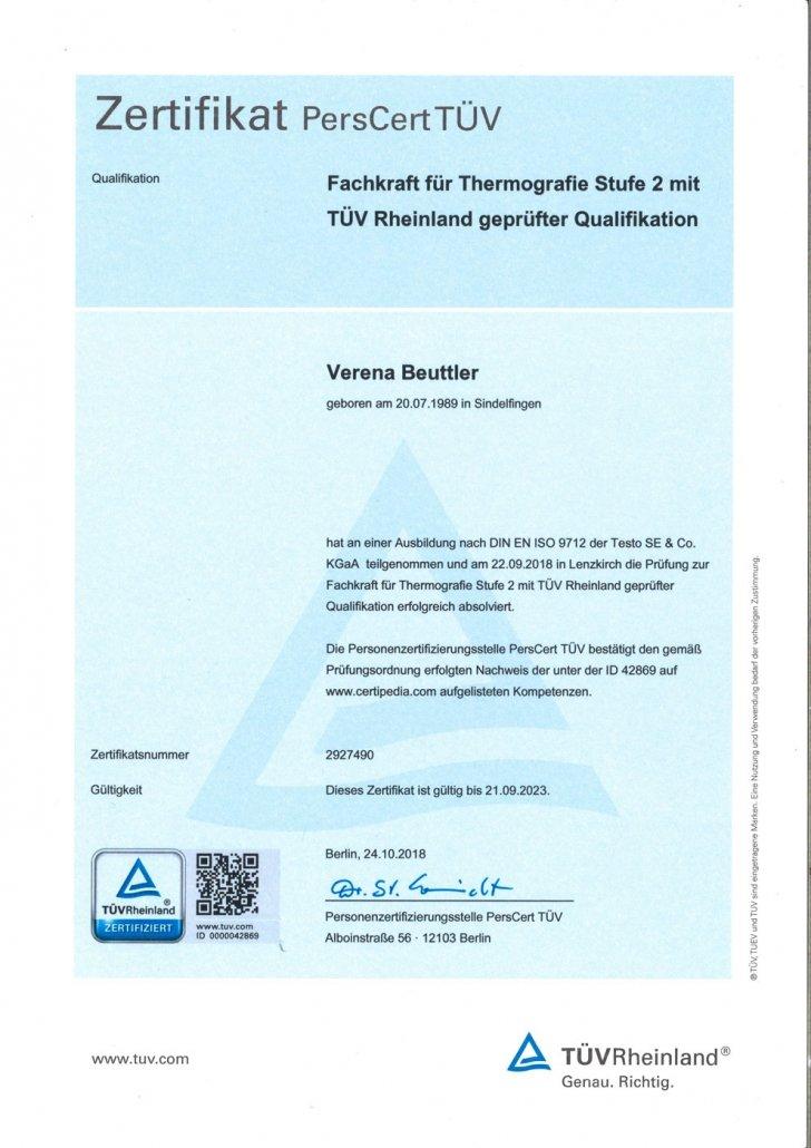 Zertifikat PersCert TÜV Fachkraft für Thermografie Stufe 2