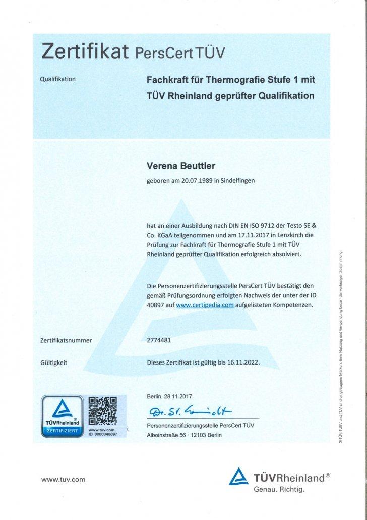 Zertifikat PersCert TÜV Fachkraft für Thermografie Stufe 1