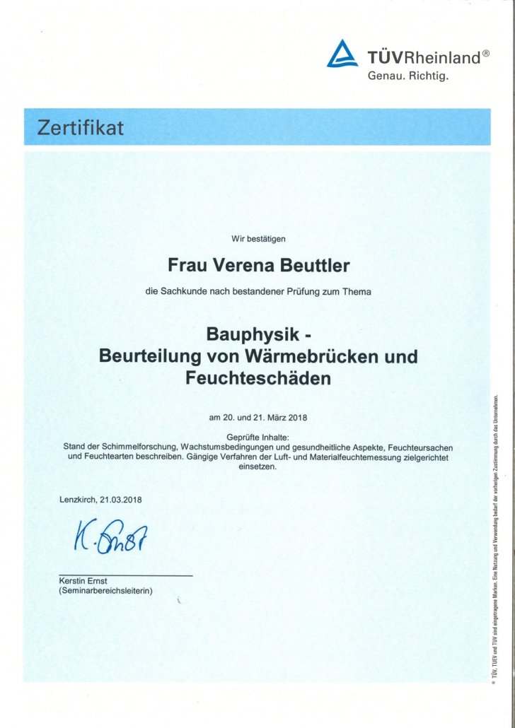 Zertifikat PersCert TÜV Bauphysik