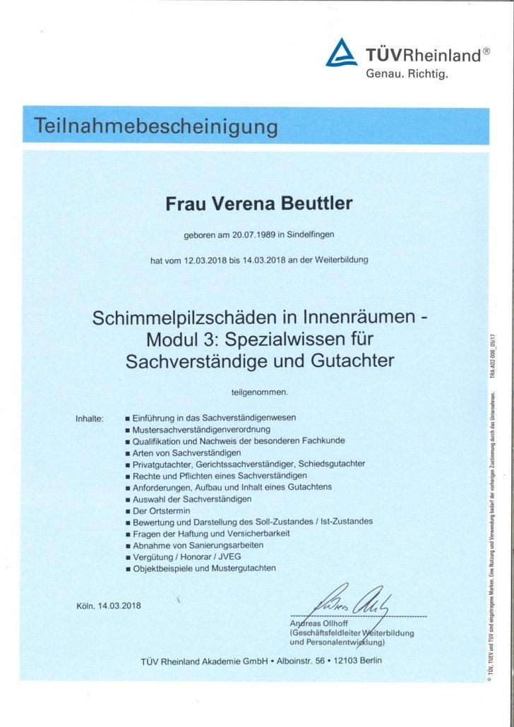 TÜV Theilnahmebescheinigung Modul 3; Spezialwissen für Sachverständige und Gutachter