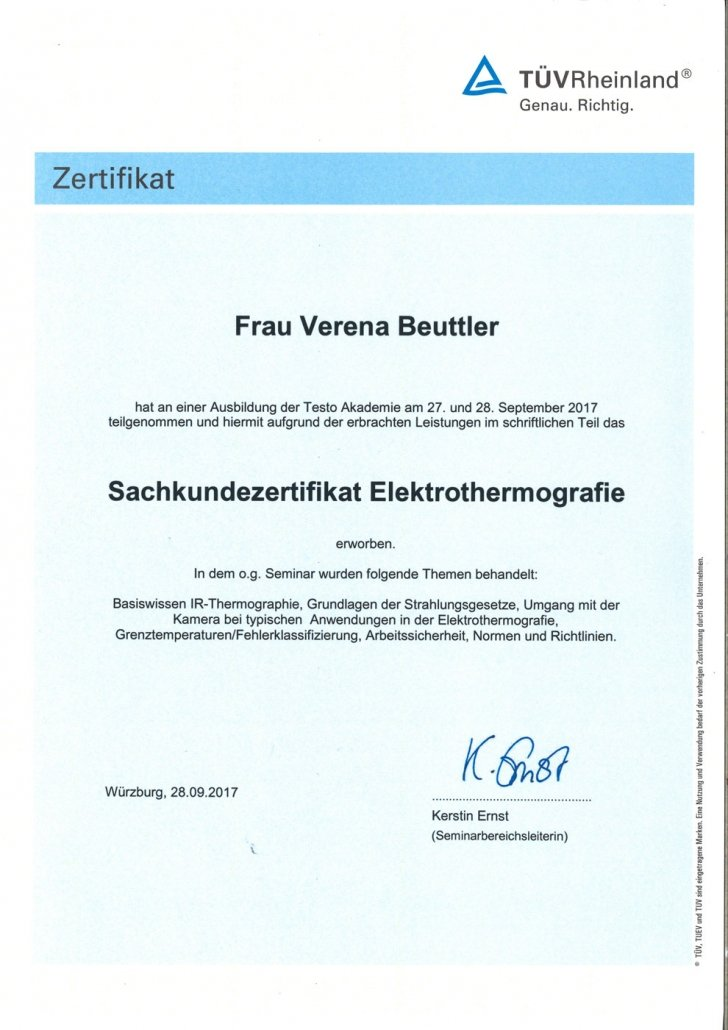 TÜV Sachkundezertifikat Elektrothermografie