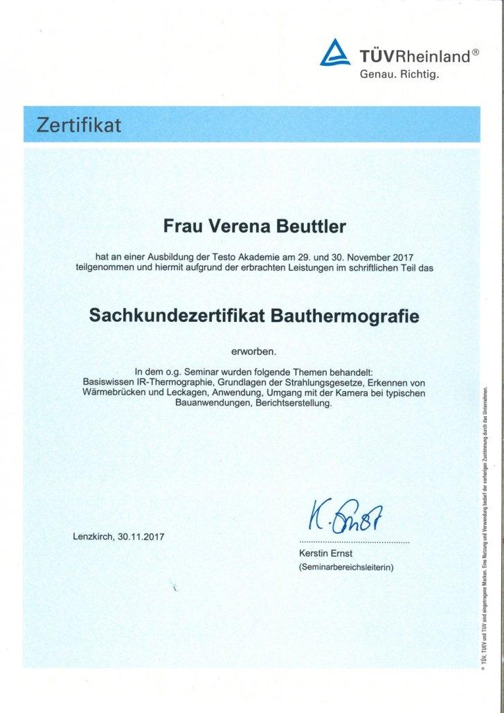 TÜV Sachkundezertifikat Bauthermografie